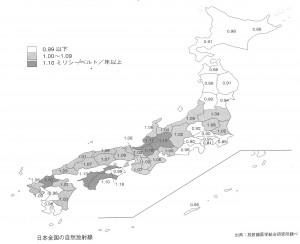 """日本全国の自然放射線の分泌(""""原子力の世紀""""日本原子力学会編)"""