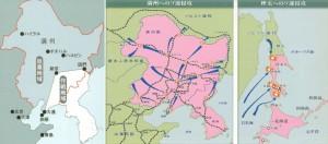 関東軍の対ソ作戦地域とソ連軍の侵攻ルート