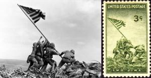 硫黄島・摺鉢山の星条旗_AP通信・郵便切手
