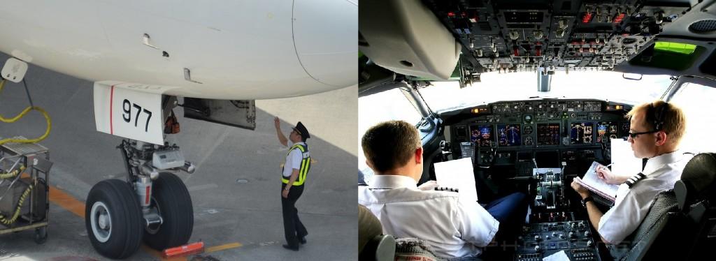 パイロットの飛行前の準備作業